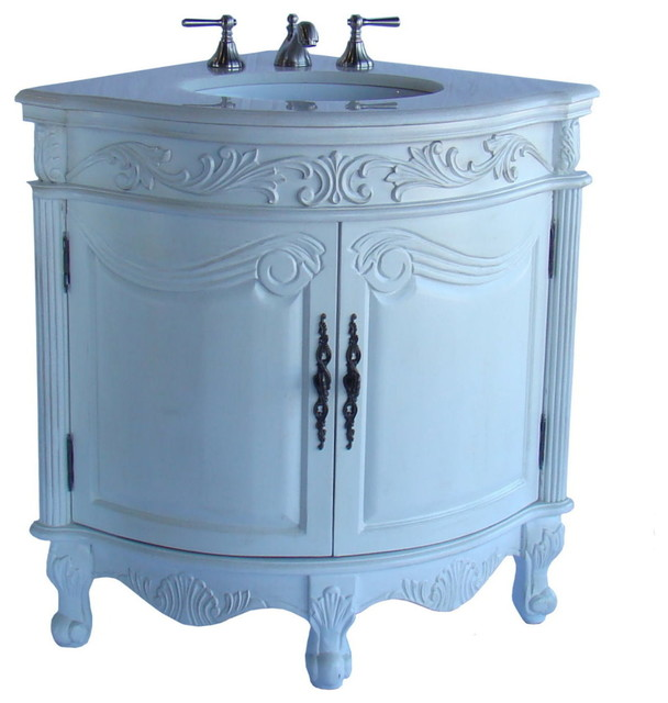 "24"" Antique White Corner Shape Bayview Bathroom Sink Vanity Model #Q030W-Aw - Traditional ..."