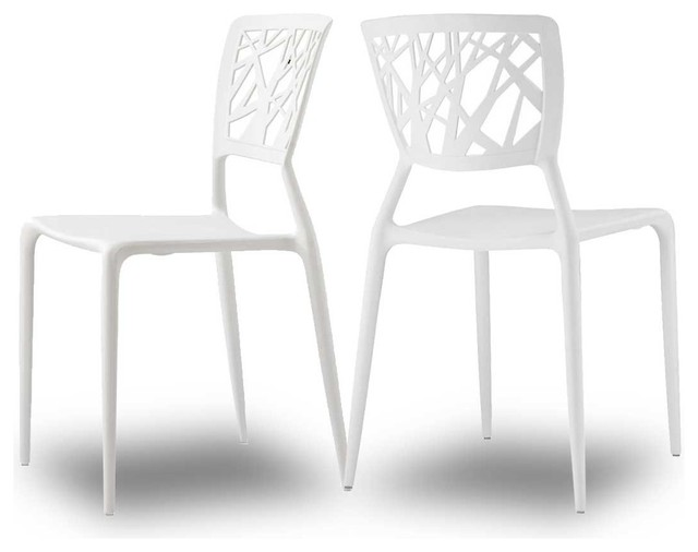 Lot de 2 chaises design candice couleur blanc moderne for Chaise de salle a manger de couleur
