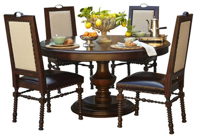 Bella cera 4 piece round dining table set capri finish for Traditional round dining table sets