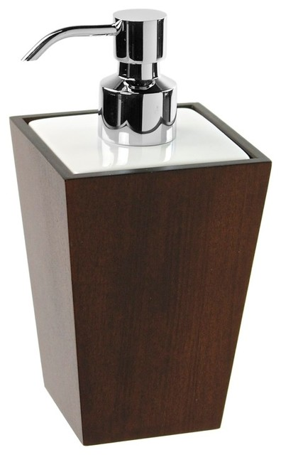 Square Tanganika Wood Soap Dispenser Contemporary Soap Lotion Dispensers By Thebathoutlet