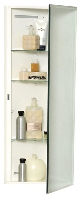 Corner Over the Mirror Surface Mount Medicine Cabinet, Beveled Frameless Mirror - Contemporary ...