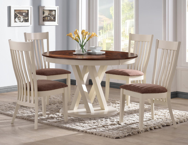 5 Pc Country Pecan White Wood Dining Set 42 Quot Round Table