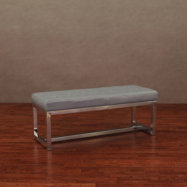 Liberty Charcoal Grey Leather Bench Contemporary Upholstered Benches By