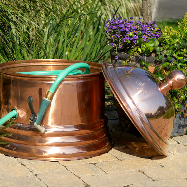 Palm Beach Copper Hose Pot Eclectic Outdoor Decor