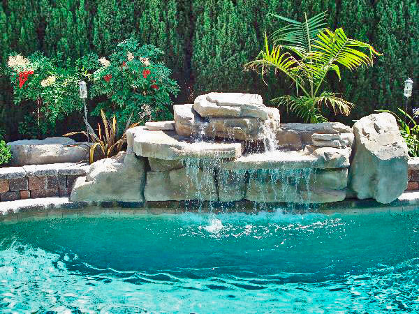 Double Tier Waterfall Tropical Pool Los Angeles By