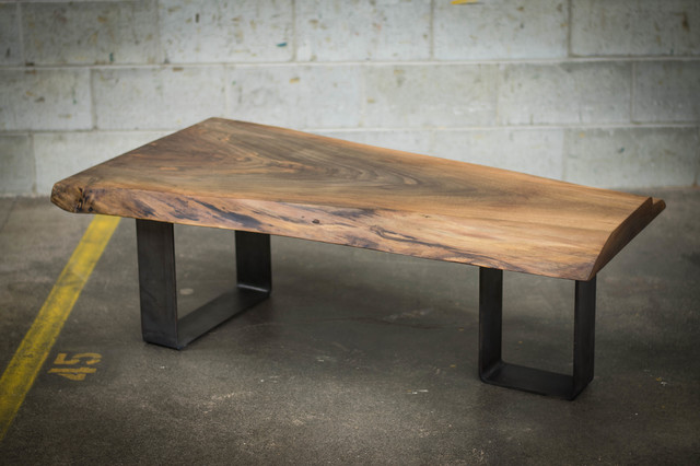 Custom made live edge tables contemporary coffee - Table en bois rectangulaire ...