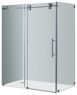 """Aston Langham 60""""x35""""x75"""" Completely Frameless Sliding Shower Enclosure, Chrome - Modern ..."""