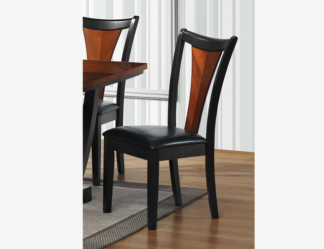 2 pc traditional black cherry wood dining chairs leather for Wood dining chairs with leather seats