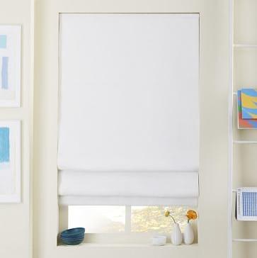 linen cotton roman shade blackout panel white 36 x64 roman shades. Black Bedroom Furniture Sets. Home Design Ideas