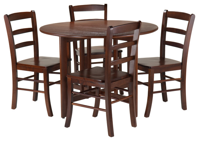 Alamo 5 Piece Round Drop Leaf Table With 4 Ladder Back Transitional Dinin