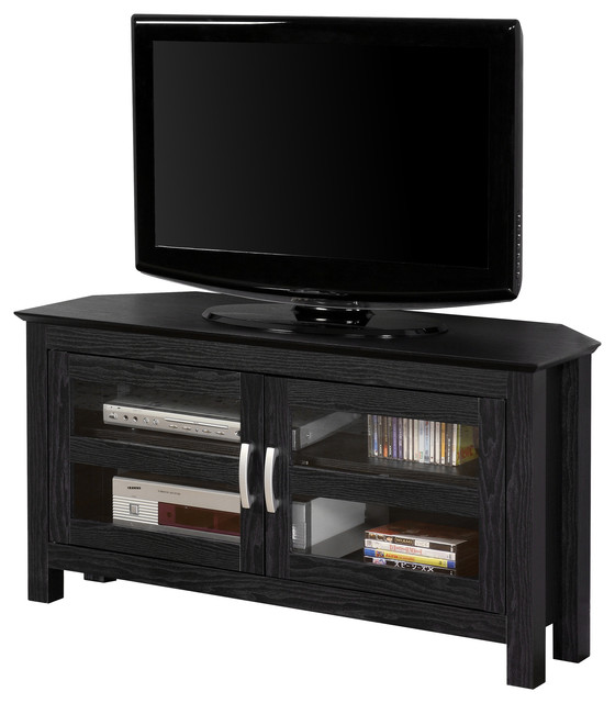 44 Black Wood Corner TV Stand Console