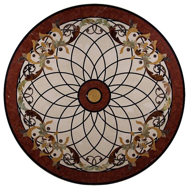 Stone Medallion Inlays : Marble floor medallion round tile inlay