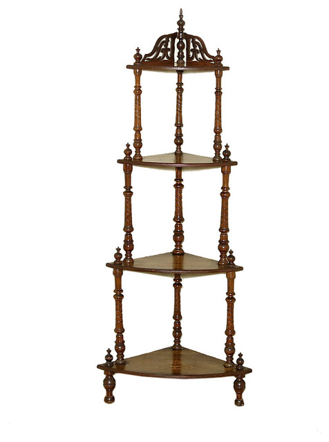 consigned c1880 antique victorian inlaid mahogany corner what not etagere victorian display. Black Bedroom Furniture Sets. Home Design Ideas