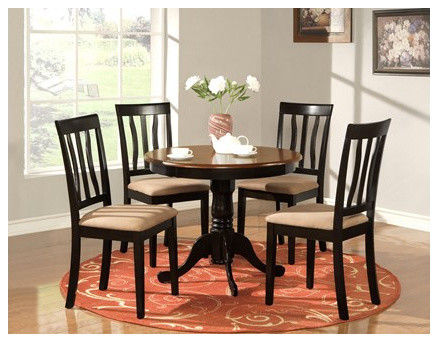 Parawood furniture antique black and cherry round dining table ...