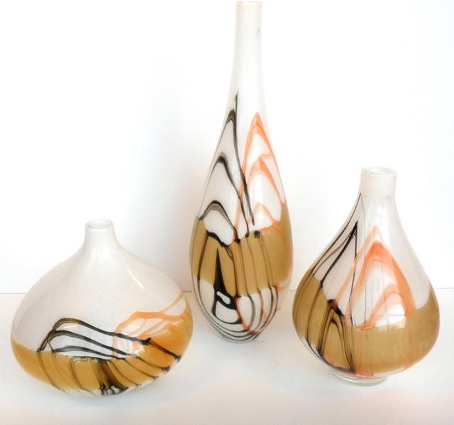 Abstract design blown glass vases modern vases perth for Modern home decor vases