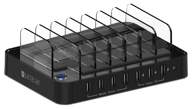 Port usb charging station black modern home office accessories
