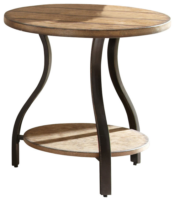 Steve silver denise round end table in light oak traditional side tables and end tables by Traditional coffee tables and end tables