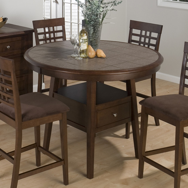 Jofran 976 Caleb Brown 48 Inch Round Tile Top Counter  : contemporary dining tables from www.houzz.com size 640 x 640 jpeg 98kB