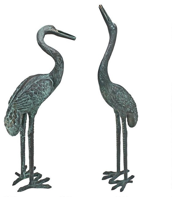 Bronze Cranes Pair Medium Garden Statues And Yard Art By Design Toscano