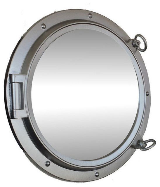 Porthole mirror silver finish 24 39 39 beach style wall for Porthole style mirror