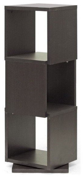 Baxton Studio Ogden Dark Brown Rotating Modern Bookshelf, 3 Level ...