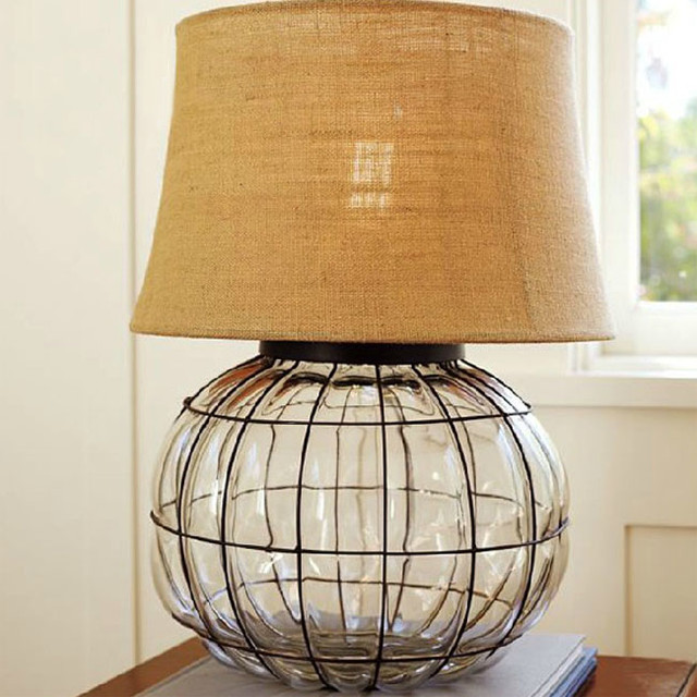 Phx Country Iron Glass And Flax Shade Table Lamp