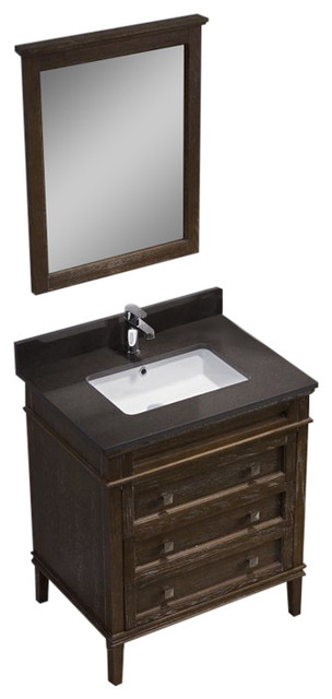 Bordeaux 30 Vanity Set With Mocha Woodland Quartz Top Black Red Oak
