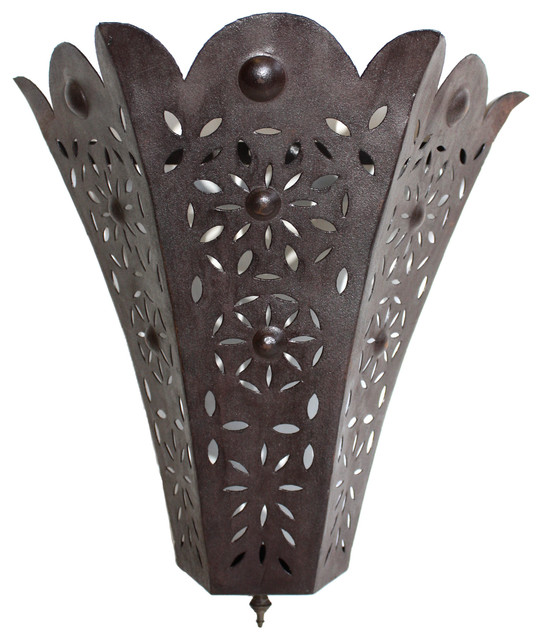 Rustic Iron Wall Sconces : Tapered Rustic Iron Hanging Wall Sconce - Mediterranean - Wall Sconces - by Badia Design Inc.