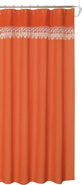 Decorative Lace Trim Orange Coral Fabric Shower Curtain Farmhouse Shower Curtains By