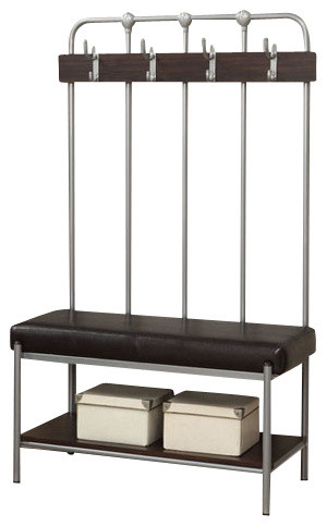 silver metal entry bench industriel meuble d entree. Black Bedroom Furniture Sets. Home Design Ideas