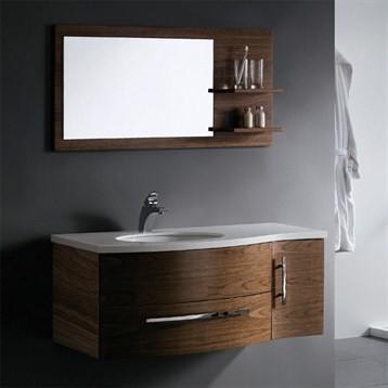 Vigo 44 single bathroom vanity with mirror and shelves for Modern black bathroom vanity