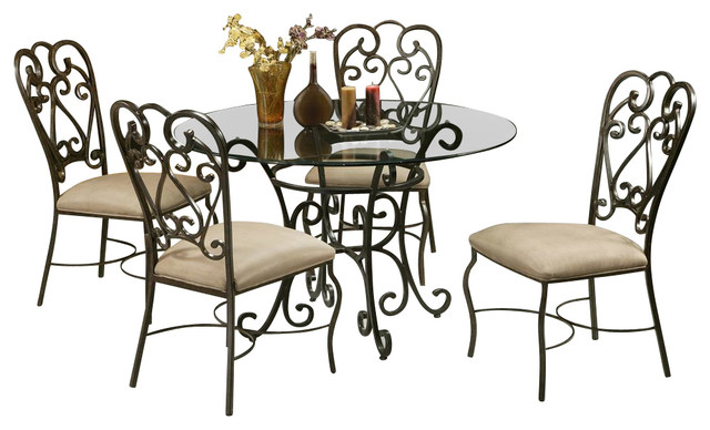 5 piece magnolia round dining table and chairs set for Traditional round dining table sets