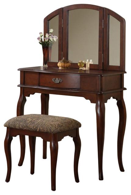Enchanting Tri Folding Mirror Vanity Set Make Up Table W Bench Drawer Cherr