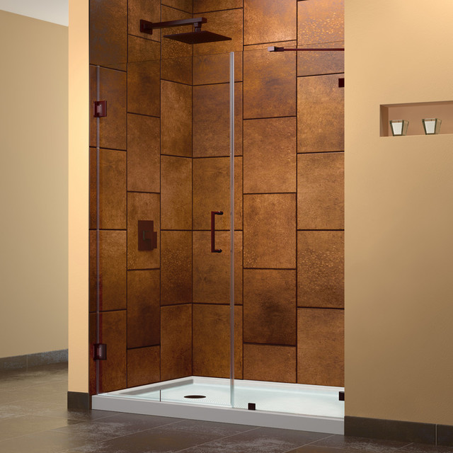 UnidoorLux 72 Hinged Shower Door Oil Rubbed Bronze Finish Hardware M