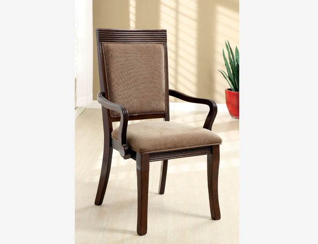 2 PC Formal Walnut Wood Dining Arm Chairs Fabric Seat  : contemporary dining chairs from houzz.com size 640 x 492 jpeg 51kB