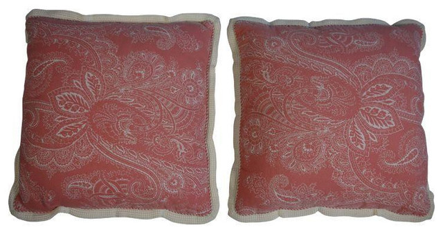 Decorative Pillows Retail : Pink Paisley Pillows with Waffle Trim- Pair - $300 Est. Retail - $225 on Chairis