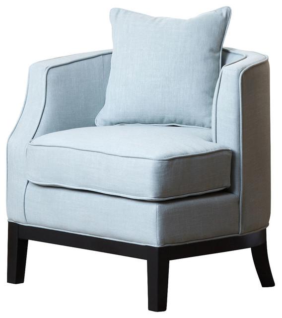Corner Accent Chairs: Laura Linen Corner Chair, Light Blue