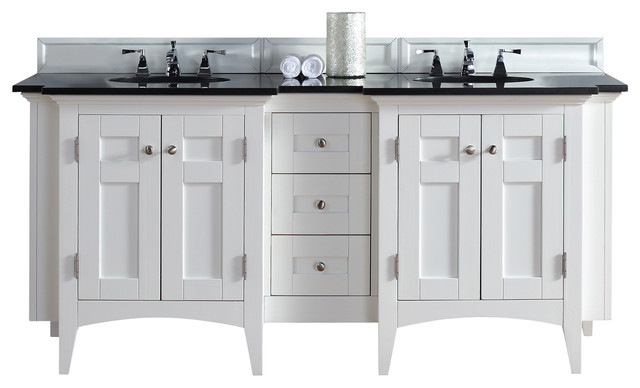 James Martin North Hampton Double Vanity White Finish Absolute Black Top Two Transitional