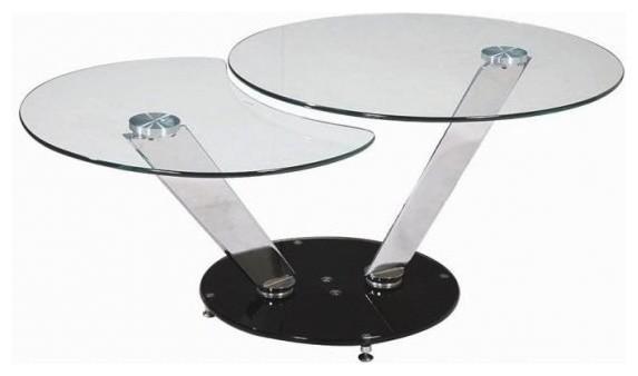 Twin Black Table Basse Design Ronde Double Plateaux