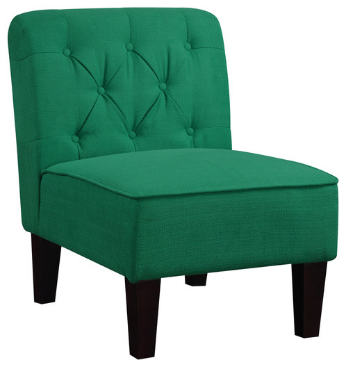 Tufted Emerald Green Slipper Chair Contemporary