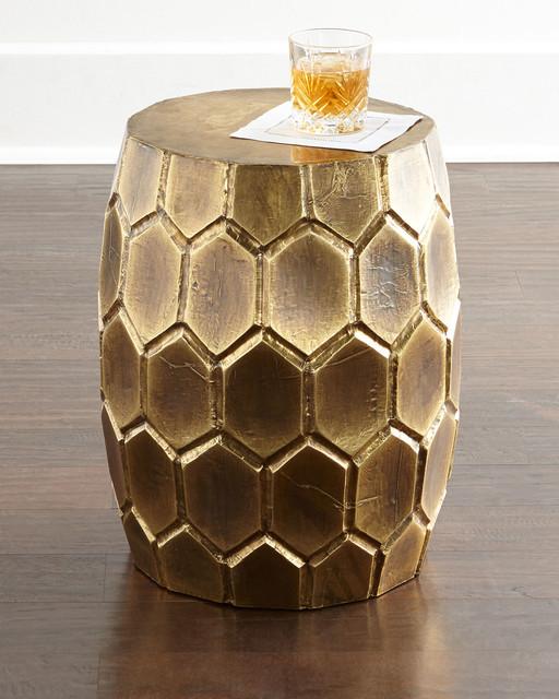 melisande honeycomb garden stool brass contemporary