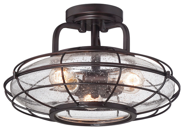 Savoy House Connell 3 Light Semi Flush in English Bronze Farmhouse Flush