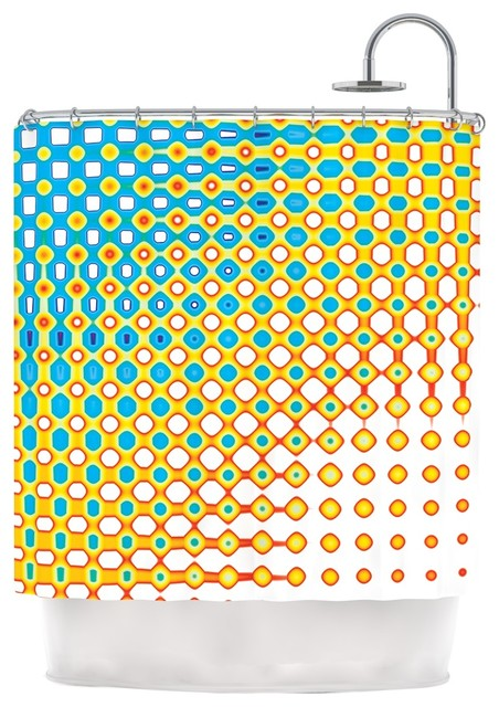 Dawid Roc Psychedelic Art Yellow Blue Shower Curtain