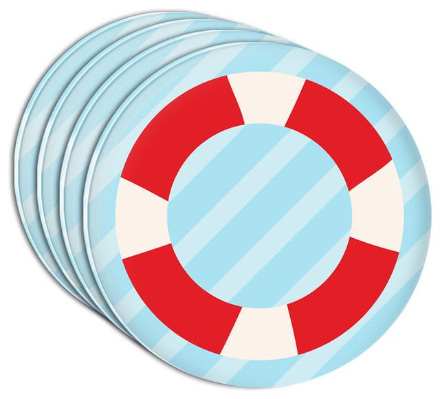 nautical lifesaver acrylic coaster set of 4