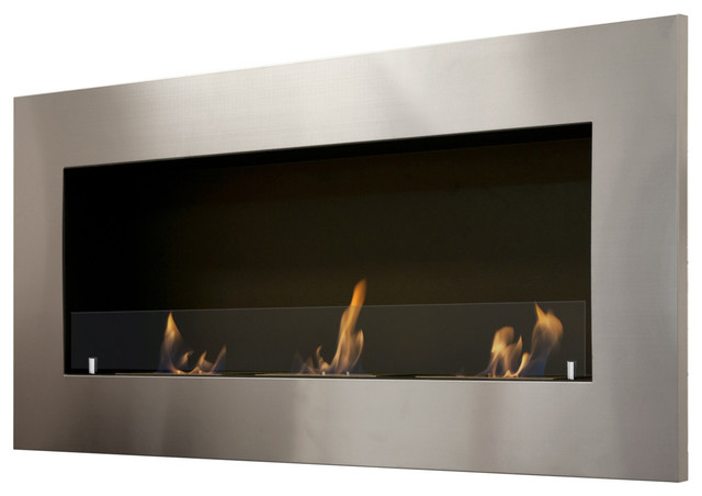 Ignis Optimum Wall Mounted Recessed Ethanol Fireplace With Glass Modern Indoor Fireplaces