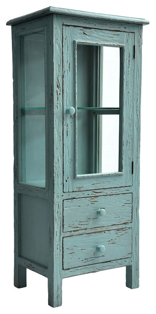 Drawer Curio, Distressed Island Blue china-cabinets-and-hutches