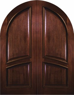 Slab House Double Door 96 Mahogany 2 Panel Round Top Solid Rustic Front D