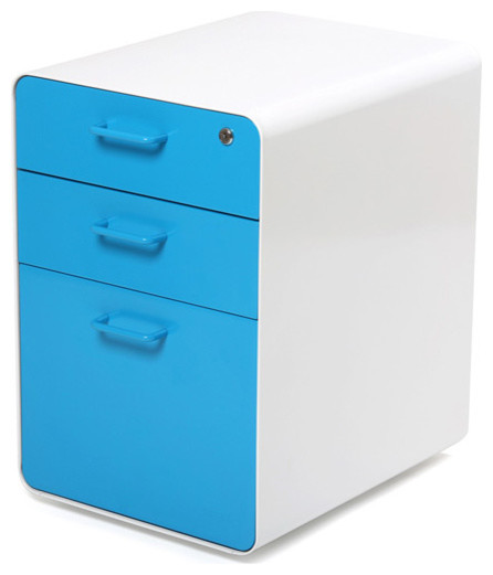 ... File Cabinet, White + Pool Blue - Modern - Filing Cabinets - by Poppin