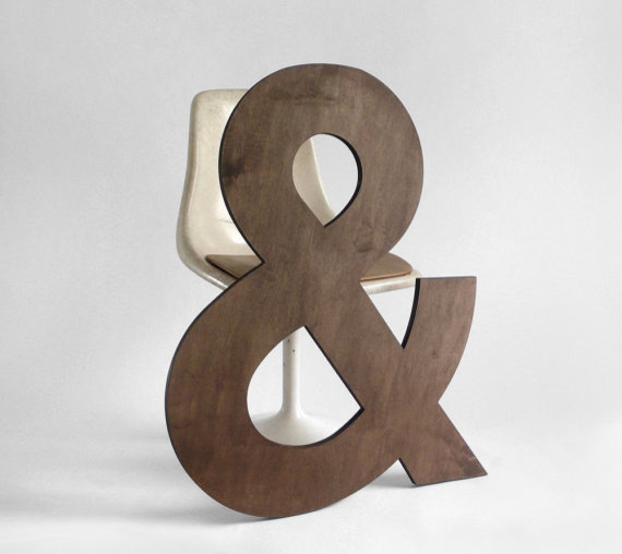 Wood ampersand letter wall hanging by hindsvik for Ampersand decor