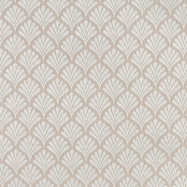 Beige Fan Patterned Woven Upholstery Fabric By The Yard